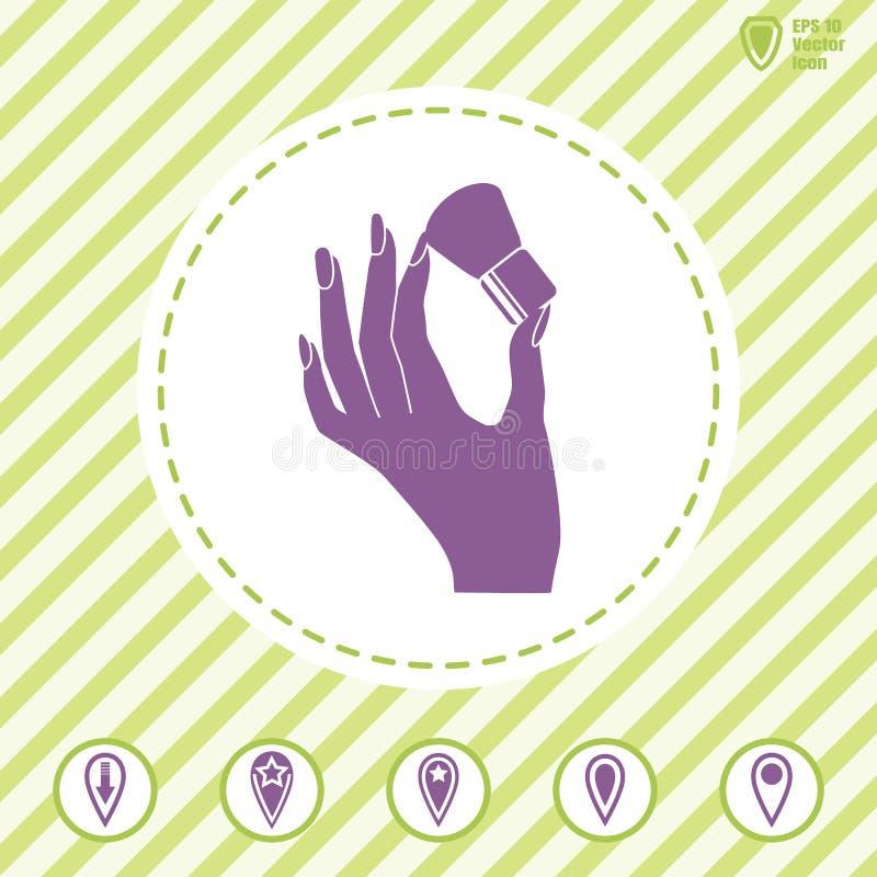 Kobiety ` s ręki chwyta gęsty muśnięcie dla uzupełniał royalty ilustracja