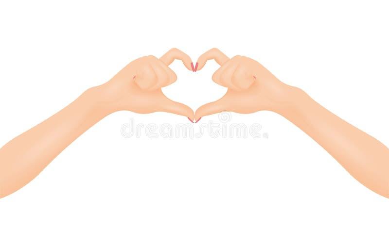 Kobiety ` s ręki robią kierowemu kształtowi W miłości i związku pojęciu ilustracji
