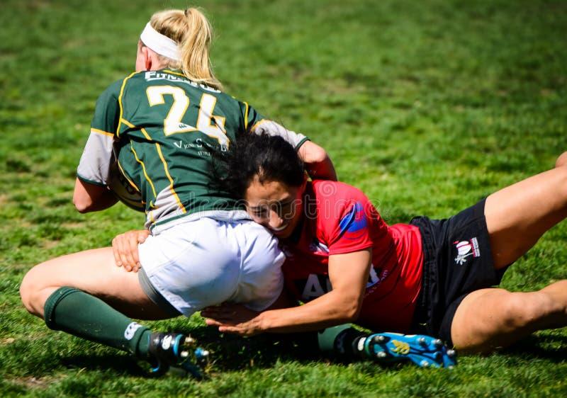 Kobiety ` s rugby sprzęt obrazy royalty free