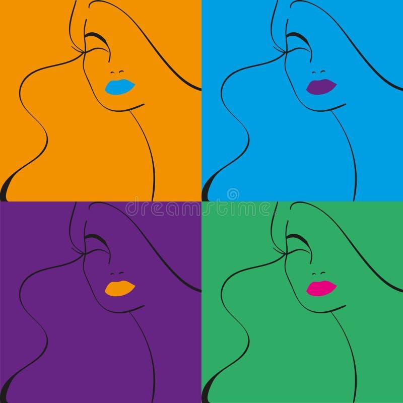 Kobiety ` s Silhouete z czerwonymi wargami Mody ilustracja ilustracji