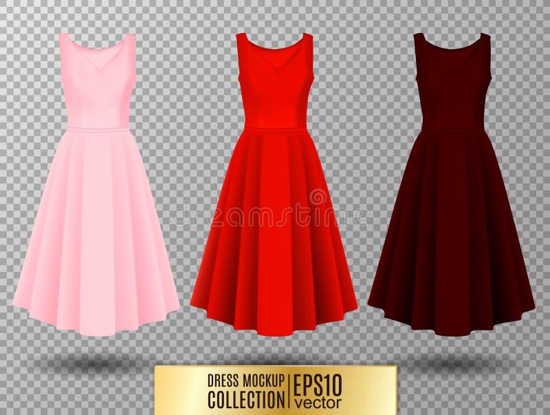 Kobiety ` s sukni mockup kolekcja Suknia z długą pofałdowaną spódnicą Realistyczna wektorowa ilustracja W pełni editable handmade ilustracji