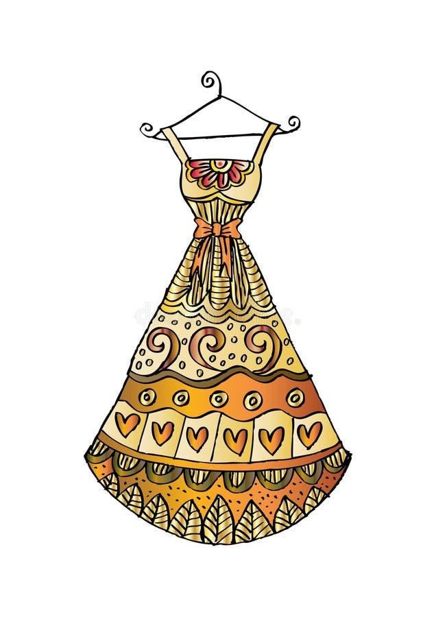 Kobiety ` s suknia na wieszaku ilustracja wektor