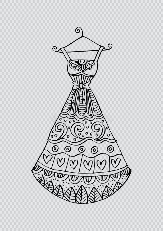 Kobiety ` s suknia na wieszaku ilustracji