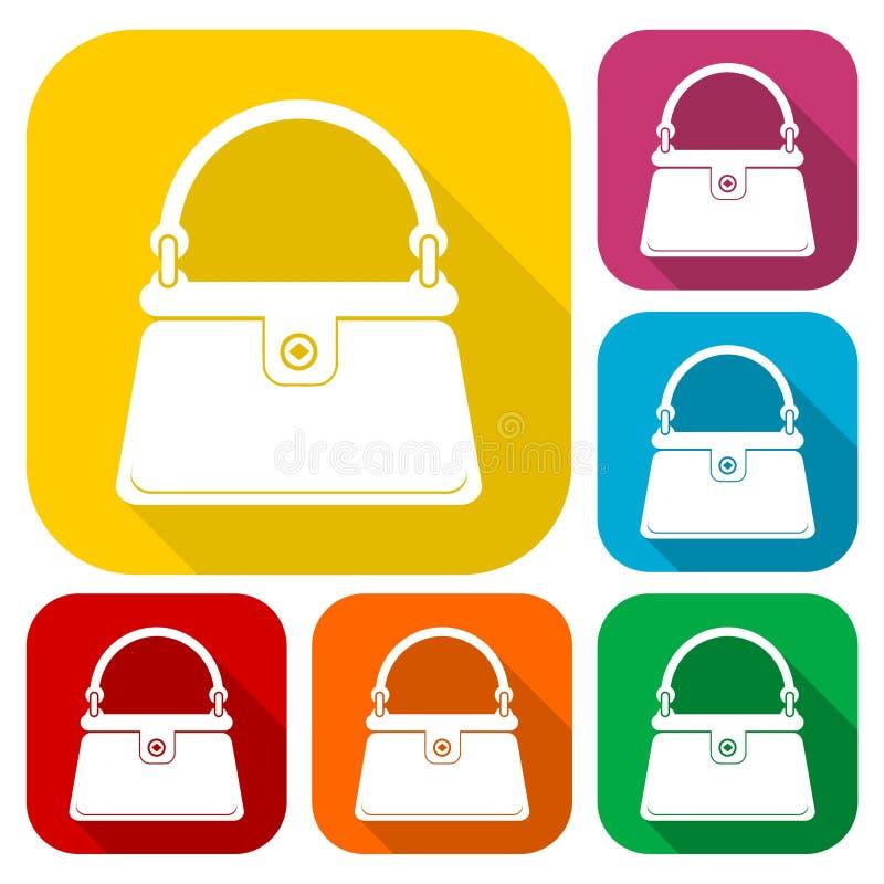 Kobiety ` s torebki ikony ustawiać z długim cieniem ilustracji