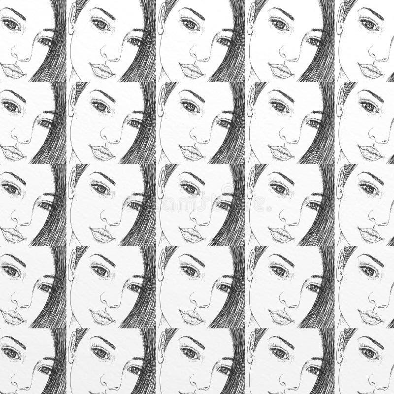Kobiety ` s twarz, prezent karta lub płótno, wzór, wielostrzałowy wzór, moda royalty ilustracja