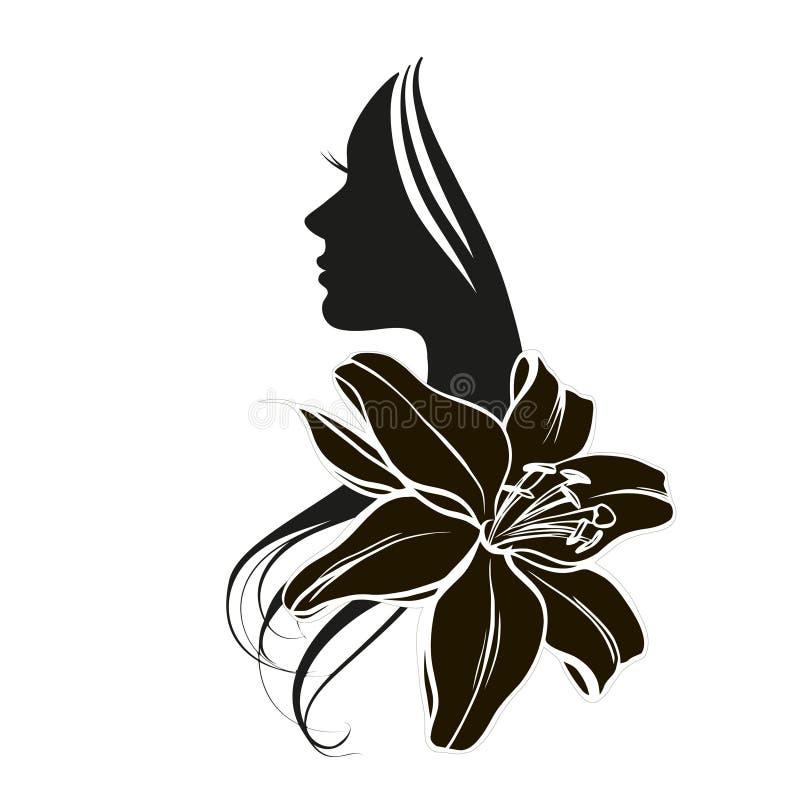 Kobiety ` s twarz w kwiacie ilustracji