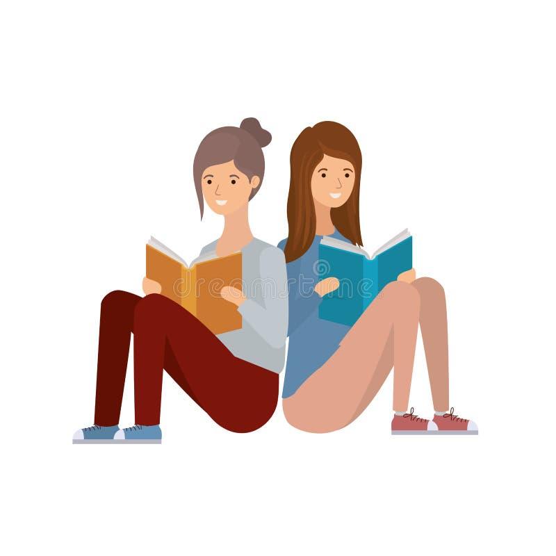 Kobiety siedzi z książką w rękach ilustracja wektor