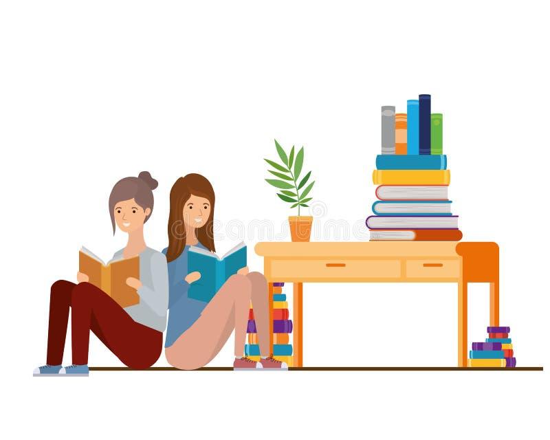 Kobiety siedzi z książką w rękach ilustracji