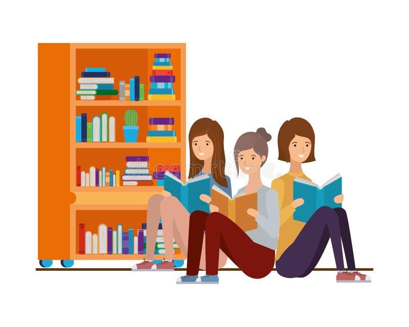 Kobiety siedzi z książką w rękach royalty ilustracja