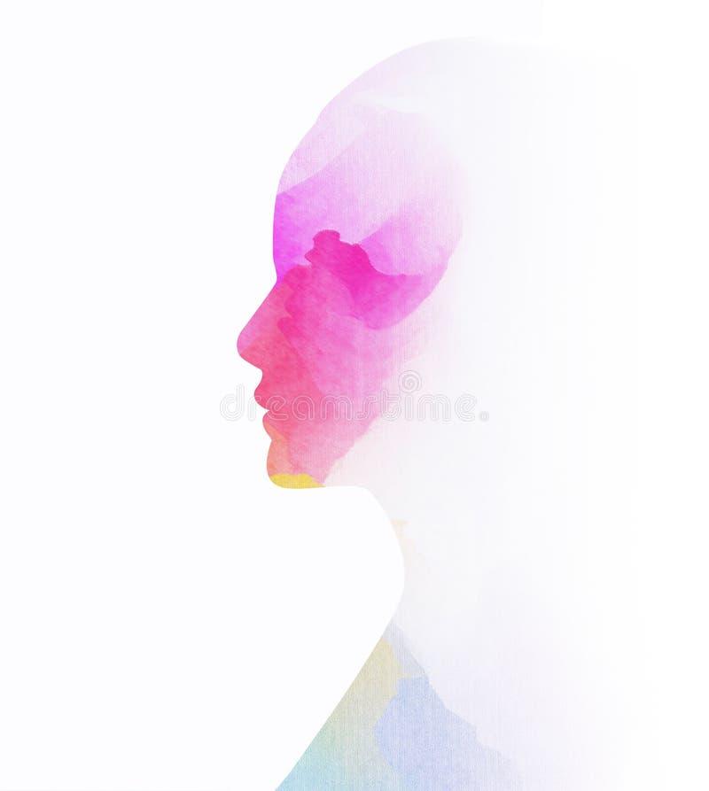 Kobiety silhouettelus abstrakcjonistyczny wodny kolor malujący ilustracji
