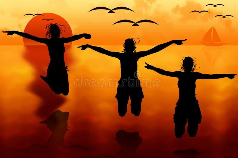 Kobiety skacze przy zmierzchem ilustracji