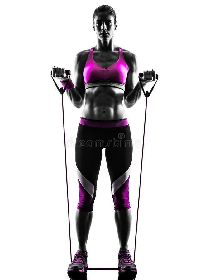 Kobiety sprawności fizycznej opór skrzyknie ćwiczenie sylwetkę fotografia stock