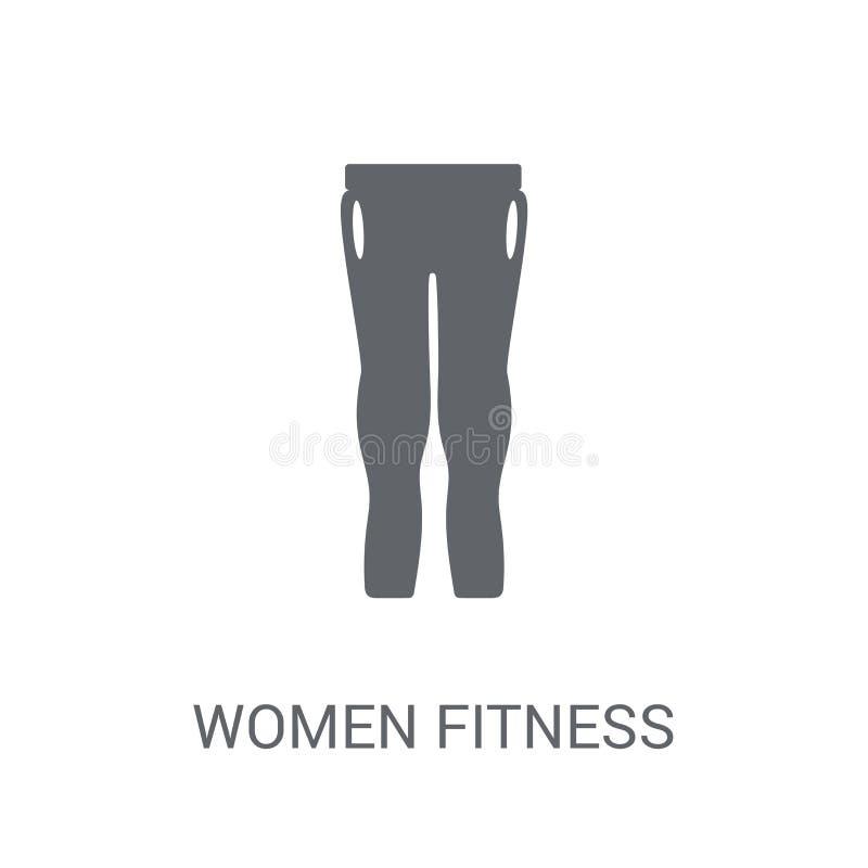 Kobiety sprawności fizycznej Ubraniowa ikona Modnej kobiety sprawności fizycznej Ubraniowy logo ilustracja wektor