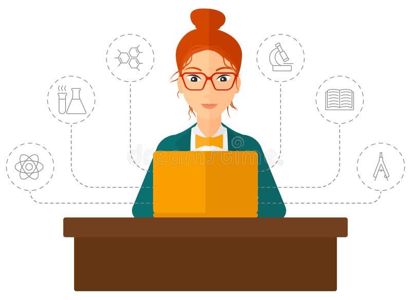 Kobiety studiowanie z laptopem ilustracja wektor