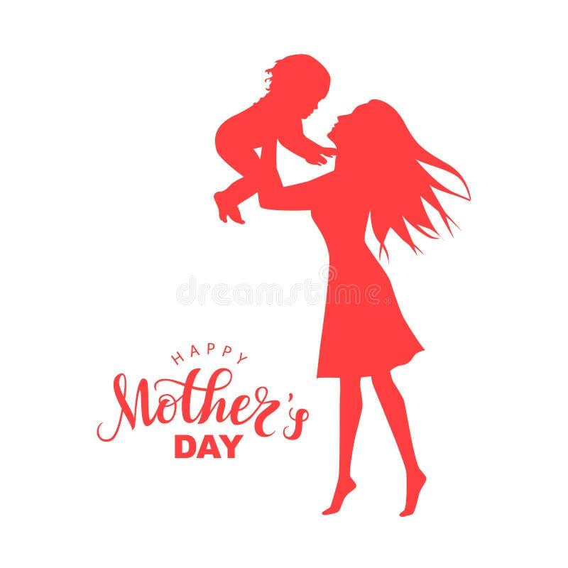 Kobiety sylwetka z małym dzieckiem i pisać list Szczęśliwego matka dzień ilustracji