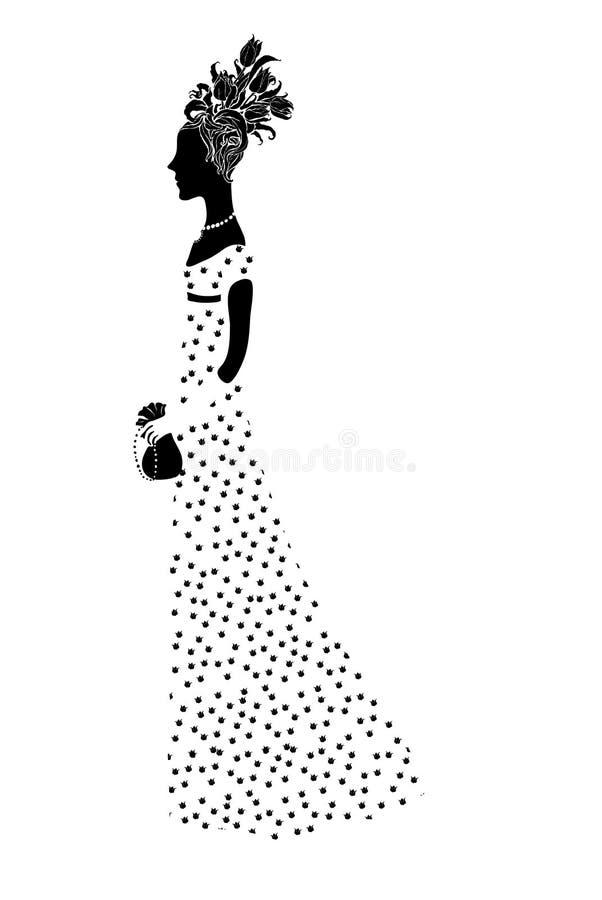 Kobiety sylwetka z włosianym tytułowaniem ilustracji