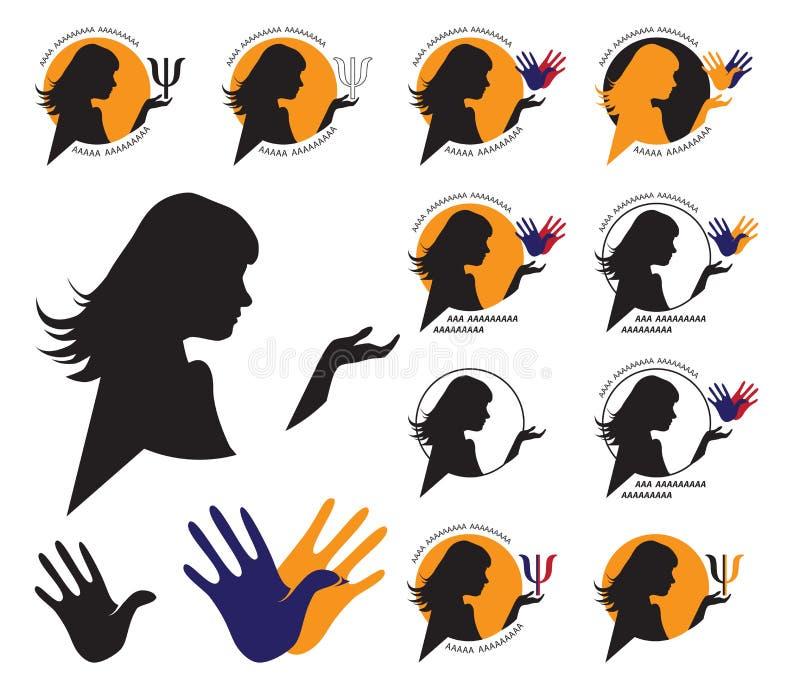 Kobiety sylwetki psycholog royalty ilustracja