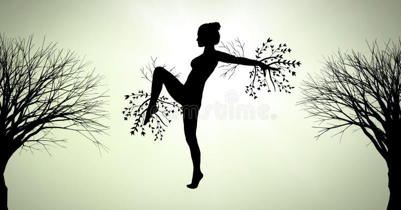 Kobiety sylwetki surrealistyczny taniec z gałąź łączył natura ilustracja wektor