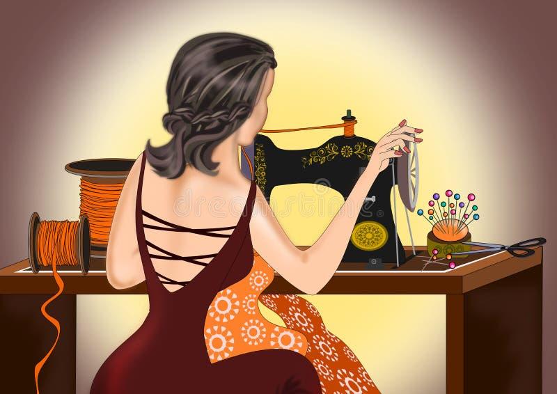 Kobiety szyć odziewa ilustracja wektor
