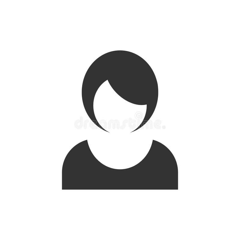 Kobiety szyldowa ikona w mieszkanie stylu Żeńskiego avatar wektorowa ilustracja na białym odosobnionym tle Dziewczyny twarzy b ilustracja wektor