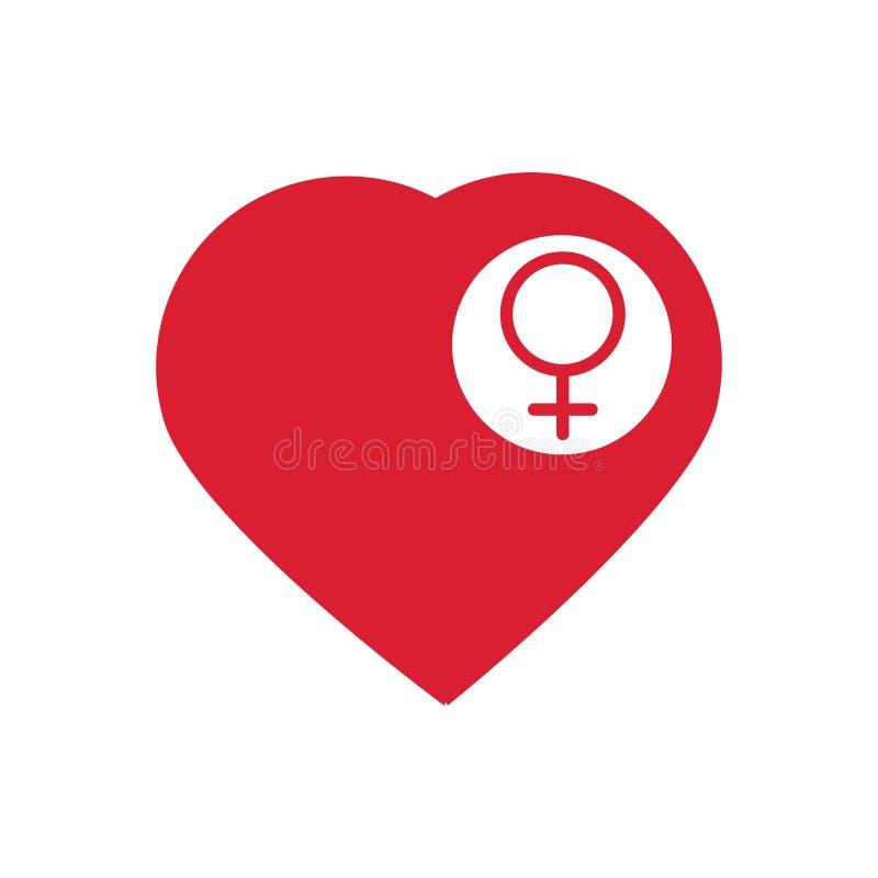 Kobiety szyldowa ikona w sercu Kobiety płci kierowy guzik wektor Wektorowy ilustracyjny płaski projekt odizolowywający na białym  royalty ilustracja