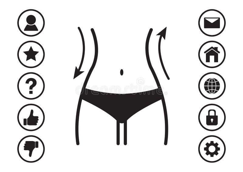 Kobiety talia i sieci ikon menu również zwrócić corel ilustracji wektora ilustracja wektor