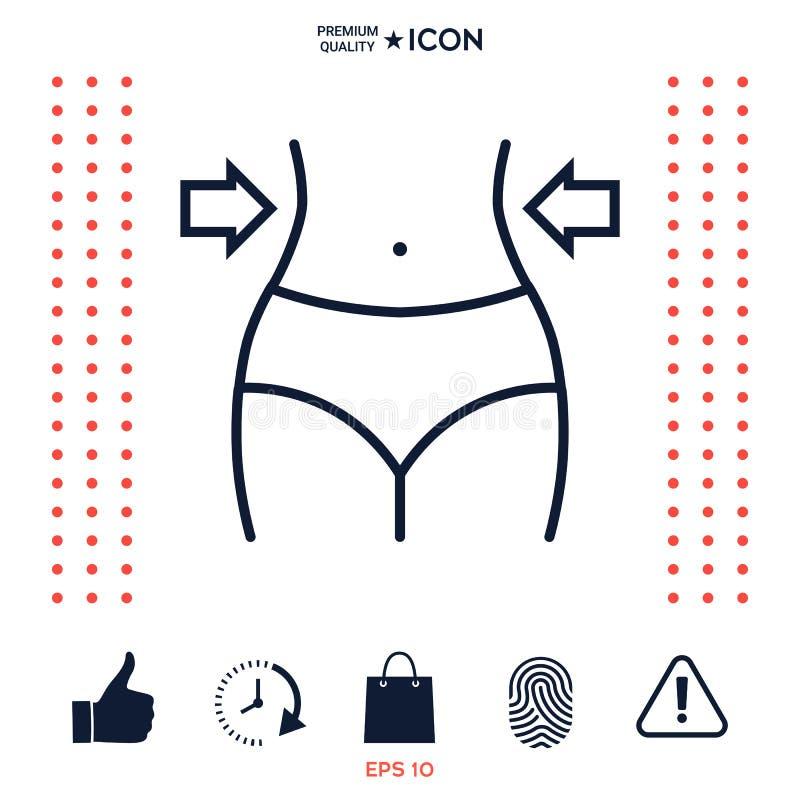 Kobiety talie, ciężar strata, dieta, talii kreskowa ikona ilustracji