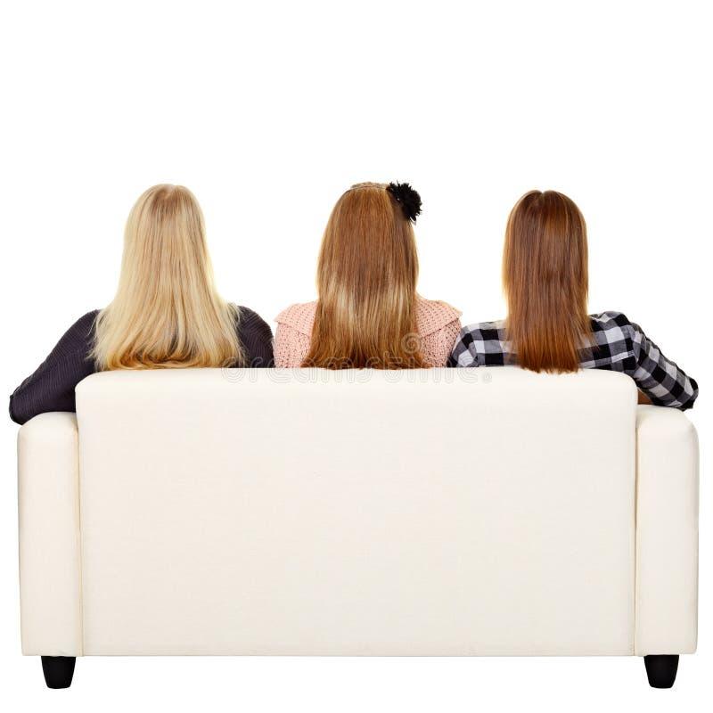 Kobiety target129_1_ na kanapie - tylni widok fotografia stock