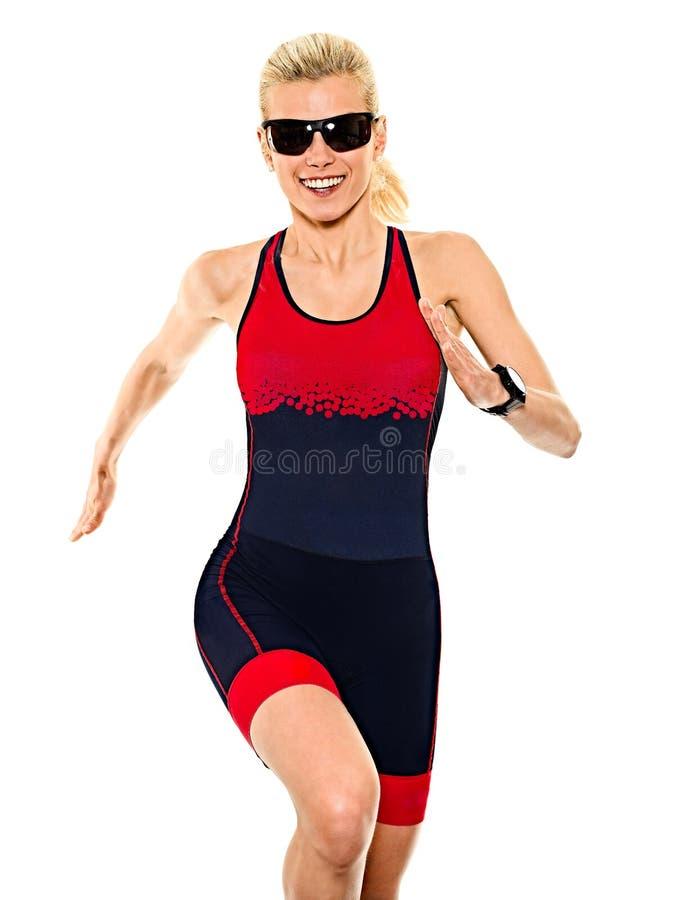 Kobiety triathlon triathlete ironman biegacz biega białego tło obrazy stock