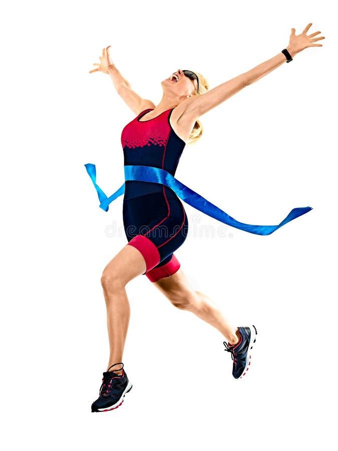 Kobiety triathlon triathlete ironman biegacza bieg odizolowywał białego tło obraz royalty free