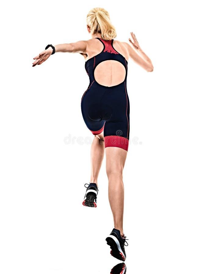 Kobiety triathlon triathlete ironman biegacza bieg odizolowywał białego tło obrazy stock