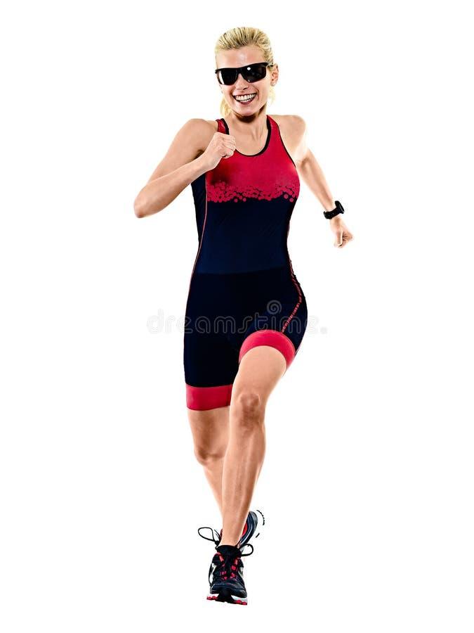 Kobiety triathlon triathlete ironman biegacza bieg odizolowywał białego tło fotografia royalty free