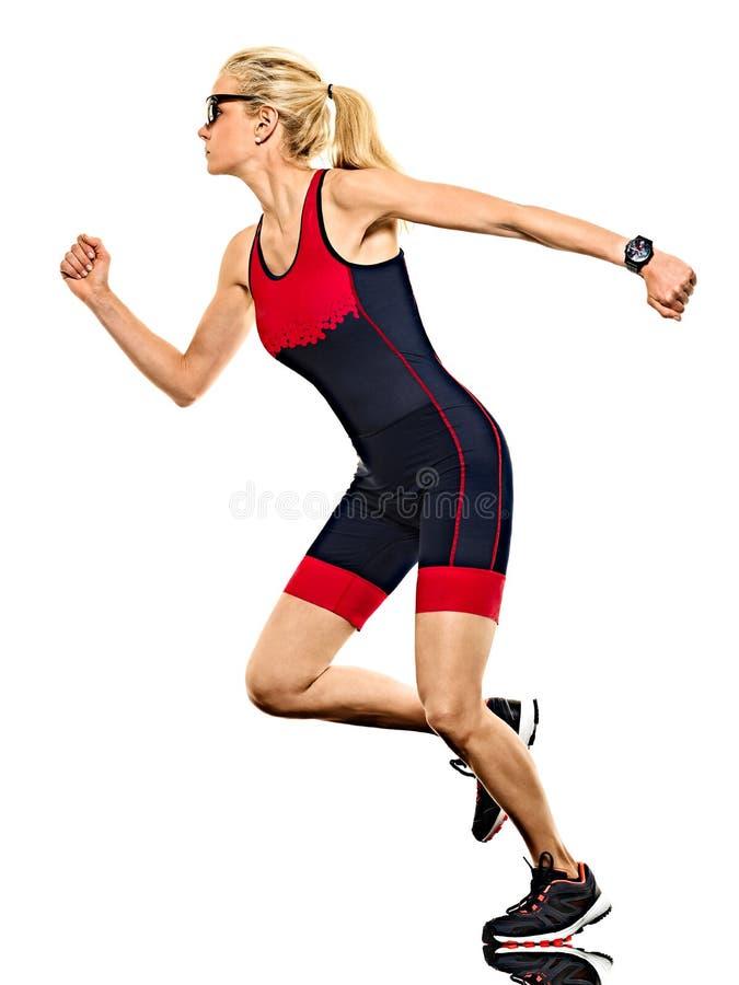 Kobiety triathlon triathlete ironman biegacza bieg odizolowywał białego tło zdjęcia royalty free