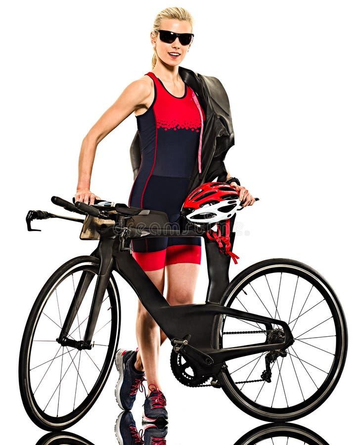 Kobiety triathlon triathlete ironman bielu tło obrazy royalty free