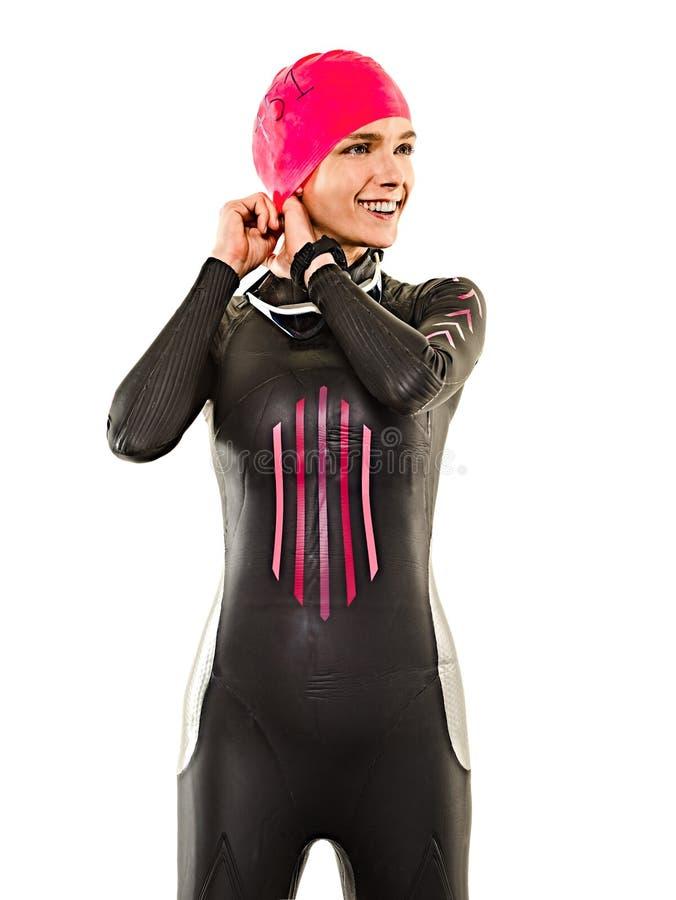 Kobiety triathlon triathlete ironman pływaczki pływacki swimsuit odizolowywał białego tło fotografia stock