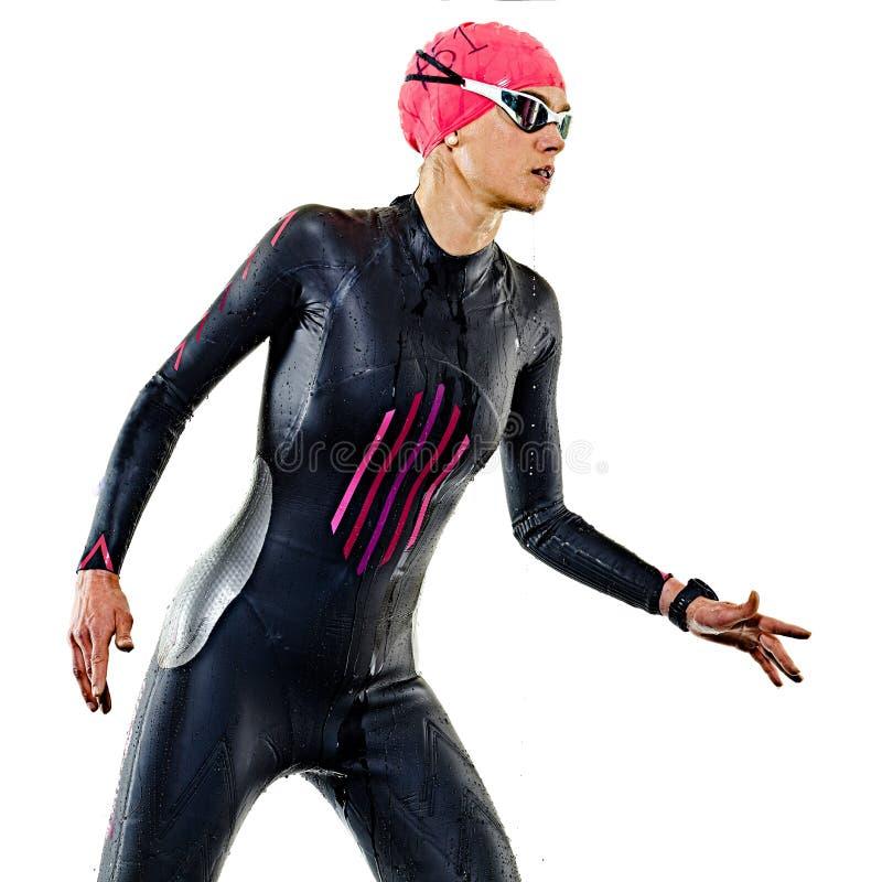 Kobiety triathlon triathlete ironman pływaczki pływacki swimsuit odizolowywał białego tło zdjęcie stock