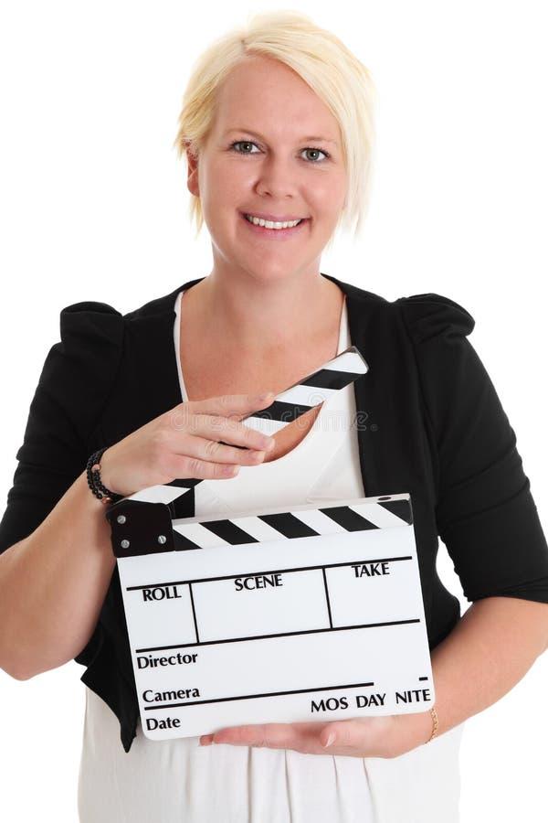 Kobiety trwanie mienie filmu łupek obrazy stock