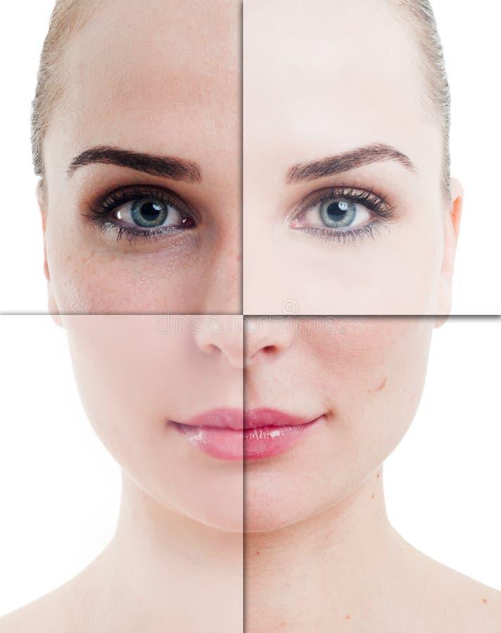 Kobiety twarz dzielił w częściach z perfect i niedokonaną skórą obraz stock