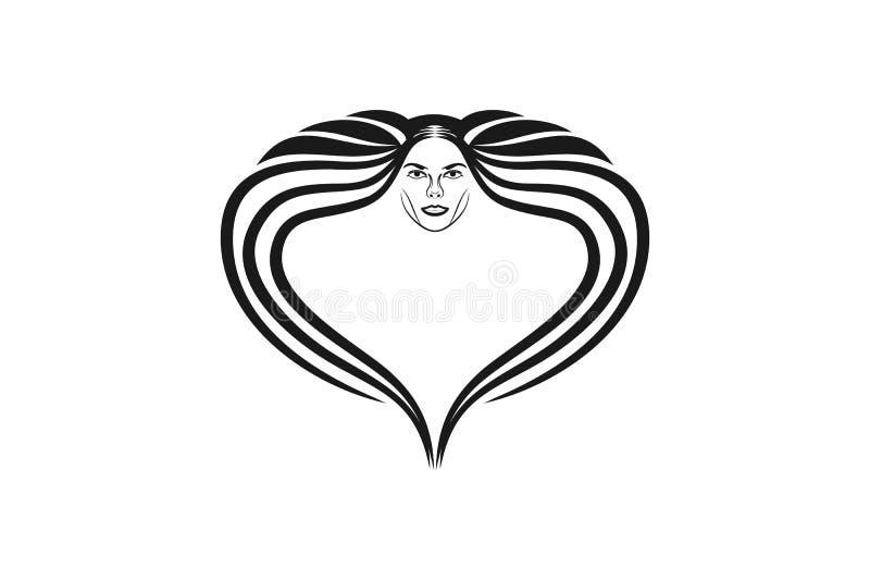 Kobiety twarz i włosy robić miłość Luksusowy logo Projektujemy inspirację, Wektorowa ilustracja ilustracji