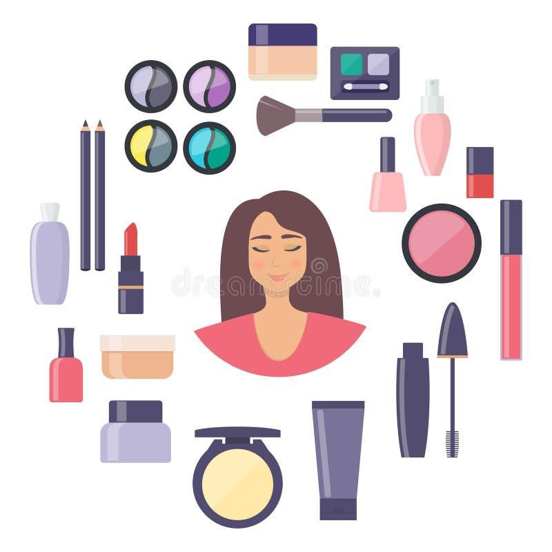 Kobiety twarz otaczaj?ca dekoracyjnymi kosmetyk?w elementami Everything dla i ja?ni opieka uzupe?niamy ilustracji