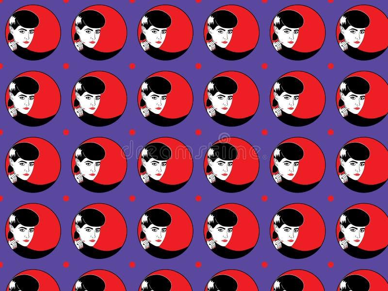 Kobiety twarz z czerwonym warg i gwoździ okręgu kolorowym deseniowym tłem ilustracja wektor