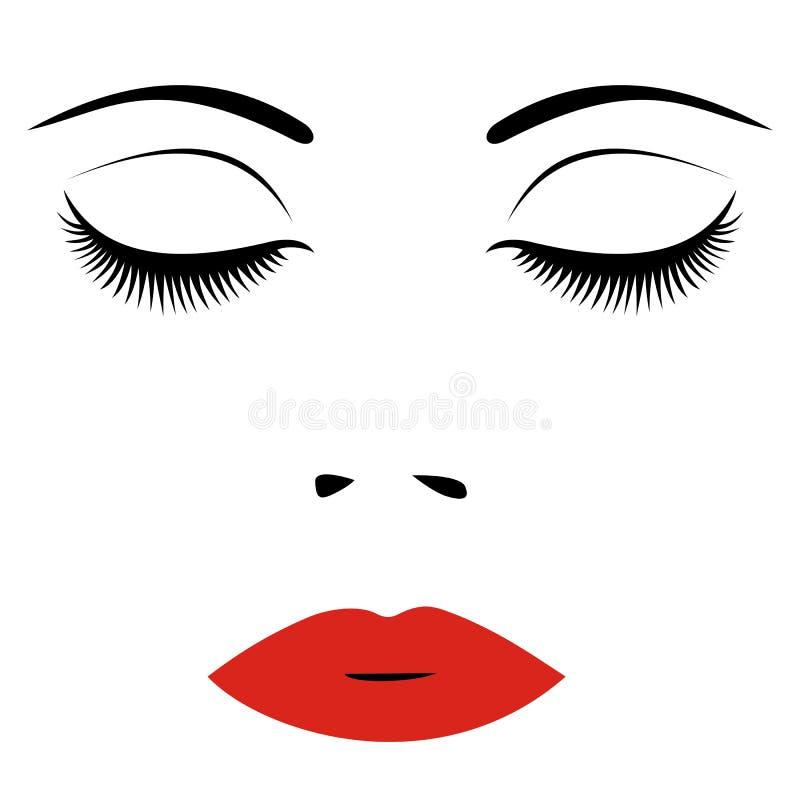 Kobiety twarz z czerwonymi wargami i zamykającymi oczami Dla piękno loga, znak, ilustracja wektor