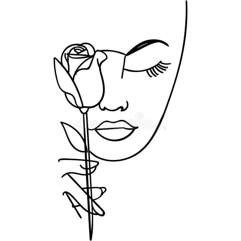 Kobiety twarz z r??a kwiatem Ci?g?y kreskowy rysunek r?wnie? zwr?ci? corel ilustracji wektora ilustracji