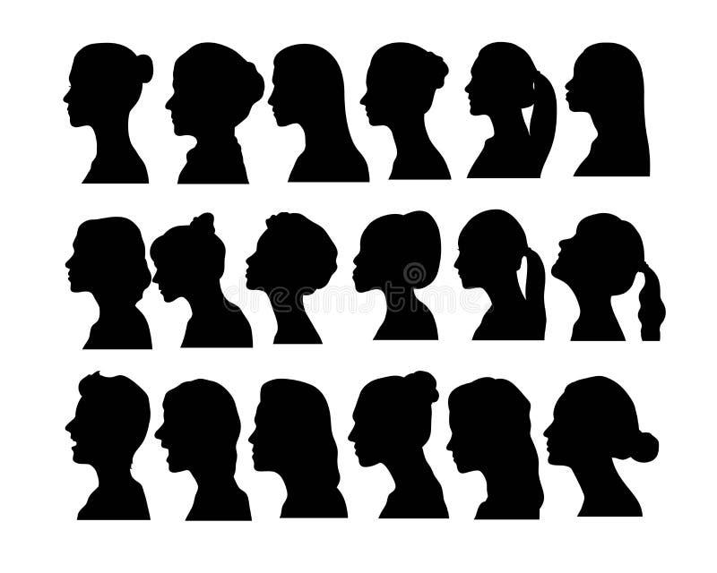Kobiety twarzy Avatar sylwetki, sztuka wektorowy projekt royalty ilustracja