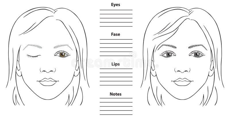 Kobiety twarzy mapa ilustracja wektor
