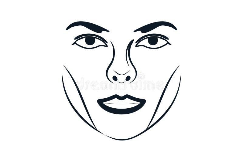 Kobiety twarzy piękna Luksusowy logo Projektuje inspirację, Wektorowa ilustracja royalty ilustracja