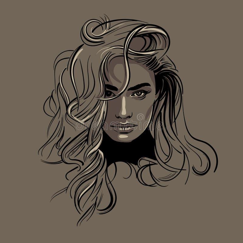 Kobiety twarzy portret Piękny wzorcowy wektor ilustracja ilustracja wektor