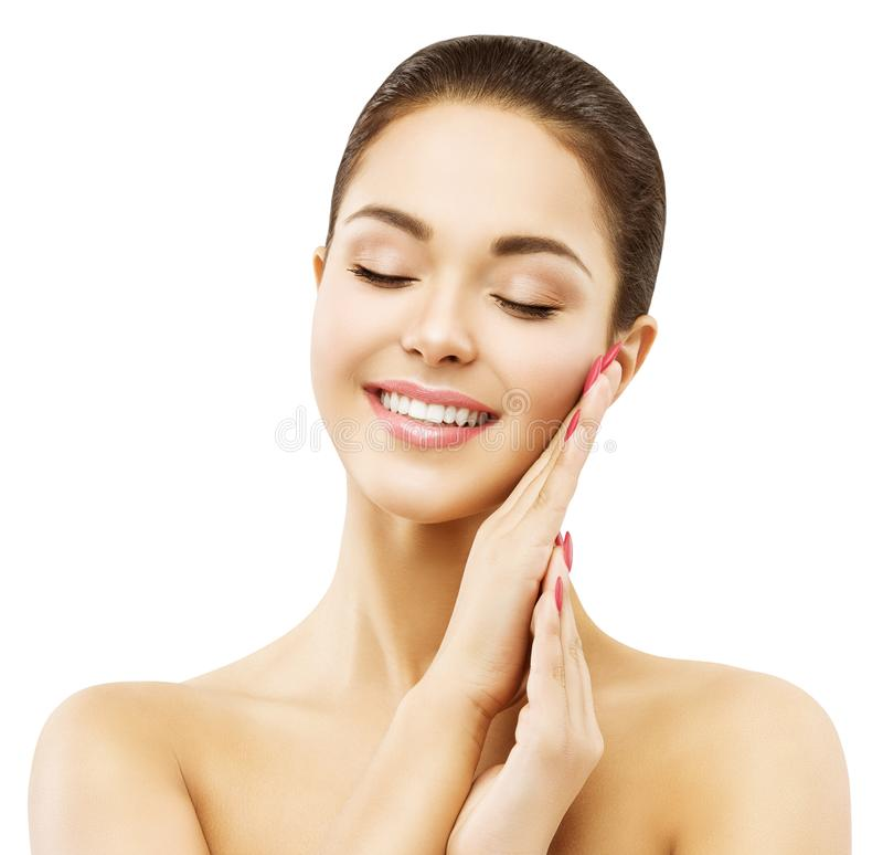 Kobiety twarzy skóry opieka, Szczęśliwy Uśmiechnięty Wzorcowy piękna Makeup obrazy stock