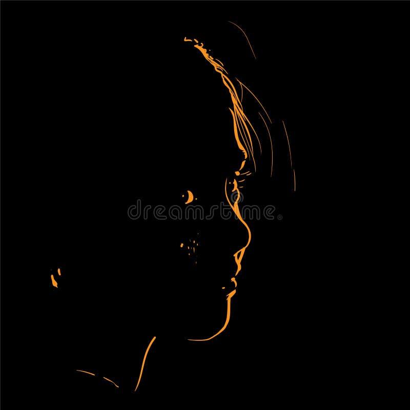 Kobiety twarzy sylwetka w backlight wektor ilustracja royalty ilustracja