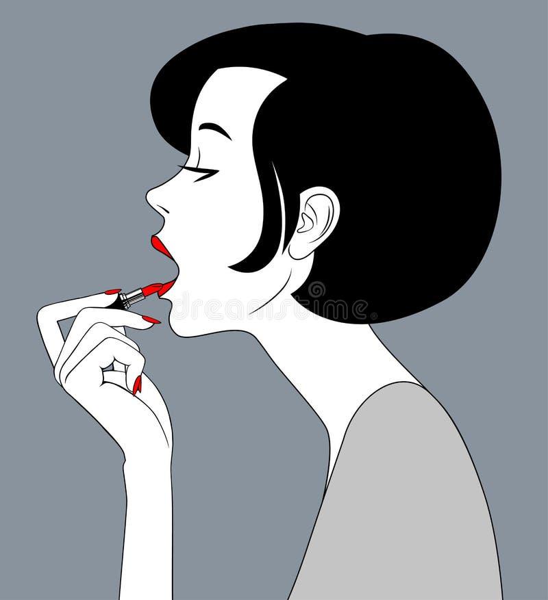 Kobiety twarzy szminki wargi z czerwoną pomadką w ręce ilustracja wektor
